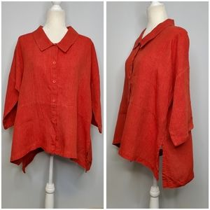 FLAX linen high low button up tunic top lagenlook